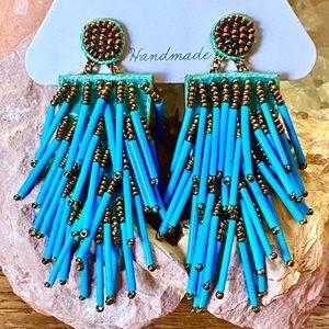 NWT Deepa Gurnani Beaded Turquoise Chandeliers